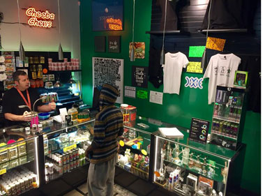 cheeba chews and dixie signs in dispensary
