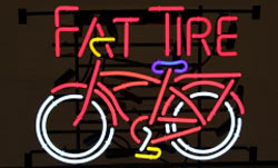 fat tire, neon, sign, signage, beer sign, beer signage