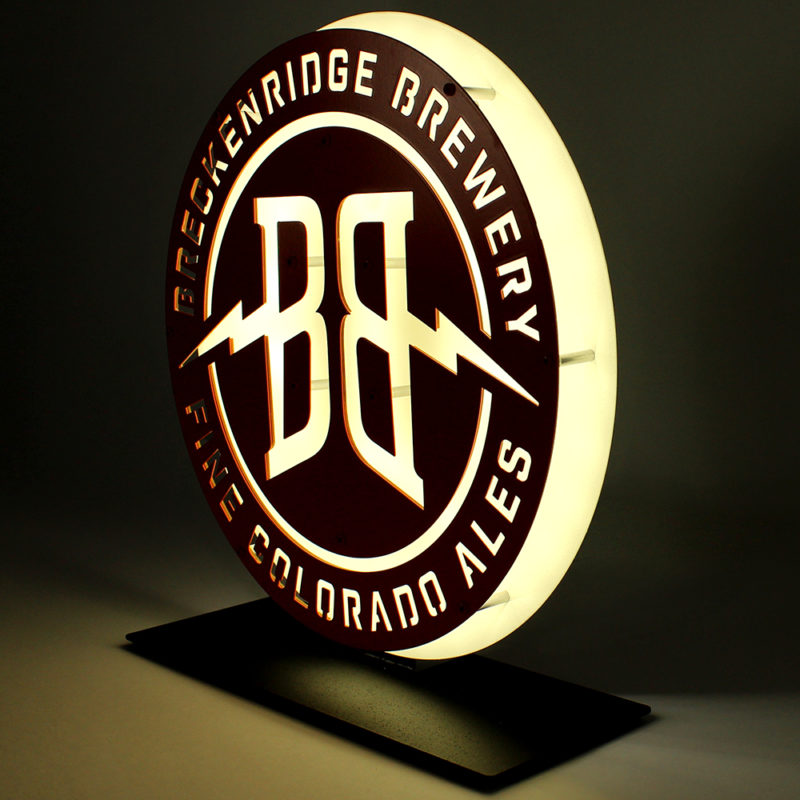Breckenridge Brewery LED Countertop Sign - Angled View