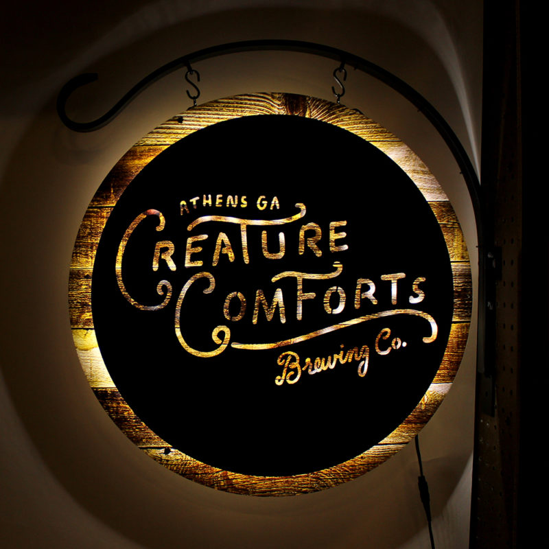 Creature Comforts Brewing Co. LED Dimensional Bodega Sign, Custom Sign Design and Production, Zeon, Zeon Signs, Neon Signs, LED Signs, Craft Beer Signs, Brewery Signs, Mixed Media Custom Signs