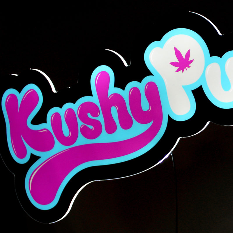 Kushy Punch LED Light Panel Sign - Angled View