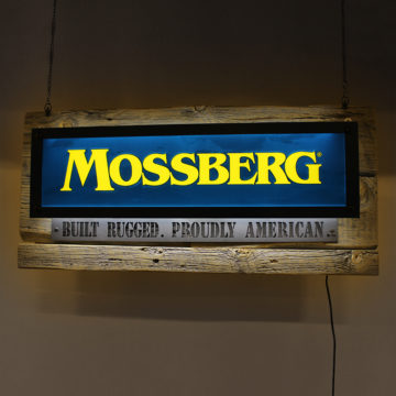 Mossberg LED Dimensional Mixed Media Sign – Angled View