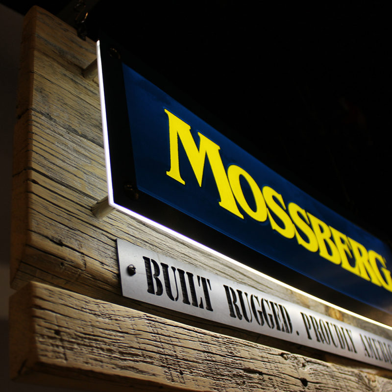 Mossberg LED Dimensional Mixed Media Sign - Angled View