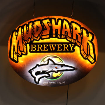 Mudshark Brewery LED Dimensional Sign – Angled View