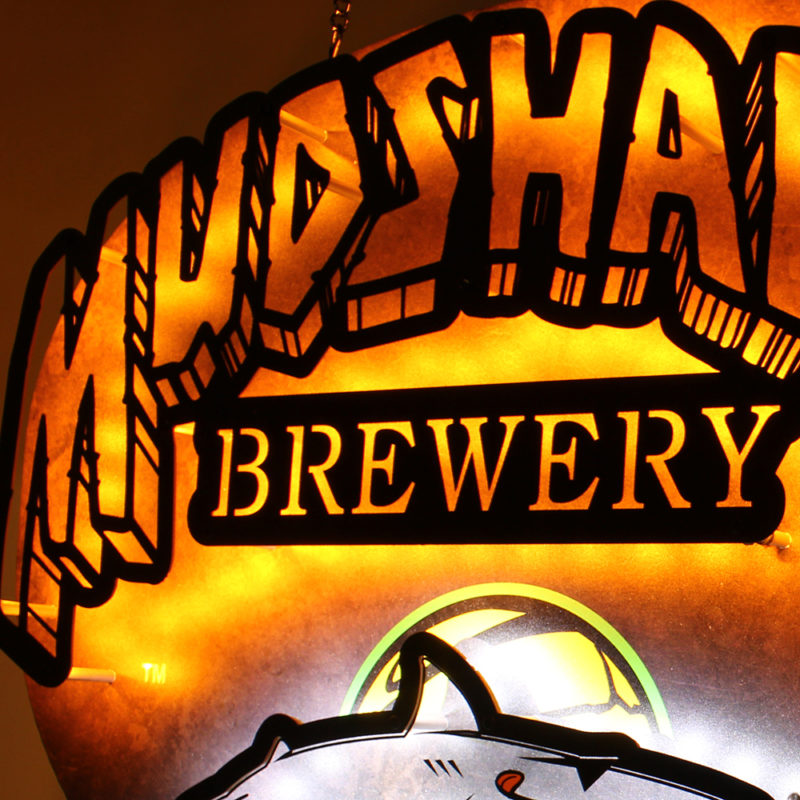 Mudshark Brewery LED Dimensional Sign - Angled View