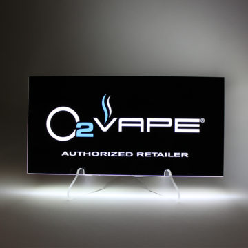 O2 Vape LED Countertop Sign – Angled View
