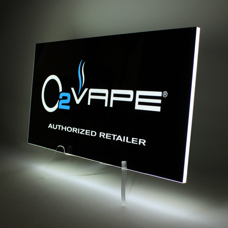 O2 Vape LED Countertop Sign - Angled View