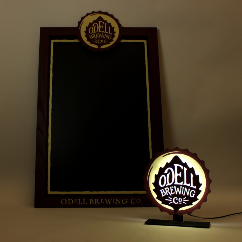 Odell Brewing Co. Chalkboard with Detachable Illuminated Sign