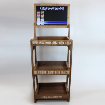 Oskar Blues Brewery Reclaimed Wood Floor Display – Angled View