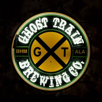 Ghost Train Neon Sign – Angled View