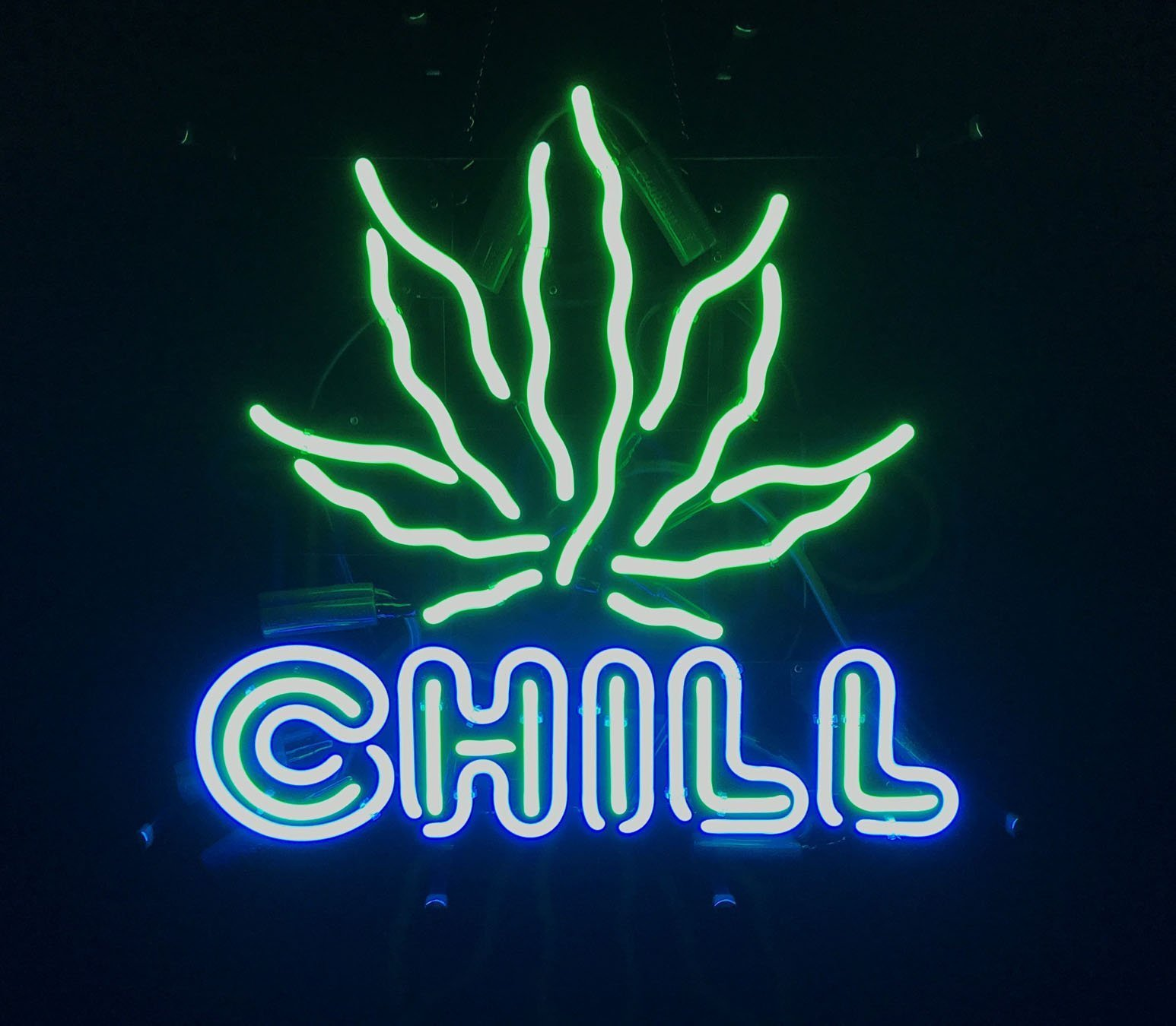 neon sign, cannabis neon, chill neon, marijuana neon, leaf neon